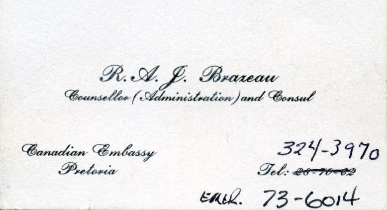 Canadian Consul's business card.